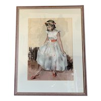 Wooden Frame Pastel Painting Title Study of A Young Girl Painted By Dennis Williams Dring Vintage c1970