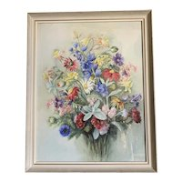 Framed Watercolor Still Life of Flowers by Maud Waddell Vintage c1920