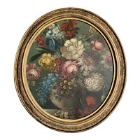Oval Framed Oil on Board Still Life of Flowers Antique Victorian 19th Century