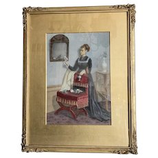 Watercolor Drawing Victorian Lady by JC Playfair Antique Victorian c1869