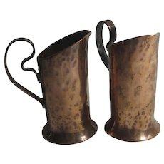 Pair of Copper Arts & Crafts Jugs Antique c1900