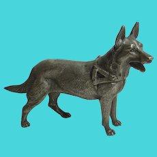 Alsatian Dog Silver Plate Figure Vintage c1950