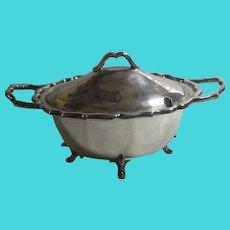 Silver Plate Sauce Tureen & Lid Antique Edwardian 1905