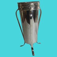3 Legged Silver Plate Vase Antique Art Nouveau c1910