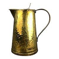 Planished Brass Arts & Crafts Jug Victorian Antique c1890