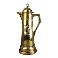 Secessionist Brass Decorated Jug Victorian Antique c1900