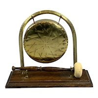 Oak Based Table Gong Made Of Brass Antique Victorian c1880