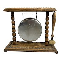 Oak Frame Table Gong Made Of White Metal In The Center Antique Edwardian c1910