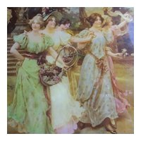 Crystoleum Painting of Ladies after W. Menzler Antique Victorian c1900