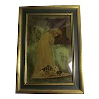 Young Girl with Puppies Crystoleum Painting Antique Victorian c1900