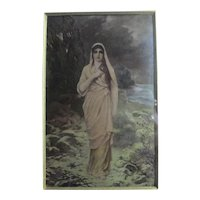 Barefoot Girl by Stream Crystoleum Painting Antique Victorian c1900
