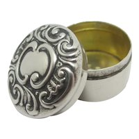 Sterling Silver Pill Box by Crisford & Norris Ltd  Antique English Edwardian 1902