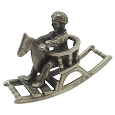 Miniature of a Child on Rocking Horse in Dutch Sterling Silver Vintage 1988