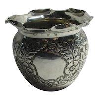 Sterling Silver Fern Pot Vase by Walker & Hall Antique English 1901 Edwardian