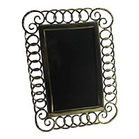 Large Solid Brass Ring Photo Frame Antique Victorian c1890
