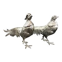 Pair Of Silver Plate Pheasants Decorative Vintage 20th Century
