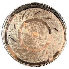 Silver Plate Circular Gallery Tray On 3 Legs Vintage English 20th Century