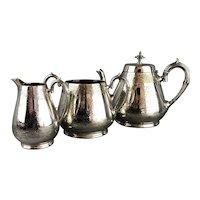 Silver Plate 3 Piece Tea Set Victorian Antique c1880