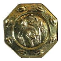 Large Art Nouveau Octagonal Brass Charger Antique c1890