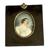 Continental Miniature Watercolor Young Lady in Blue Dress Antique Georgian c1835