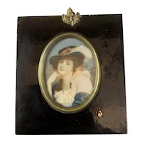 Continental Miniature Watercolor Young Lady in Blue Riding Hat Antique Georgian c1835