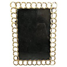 Brass Chain Link Easel Photo Frame Antique Victorian c1900