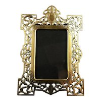 Brass Reticulated Easel Photo Picture Frame Antique Victorian c1890