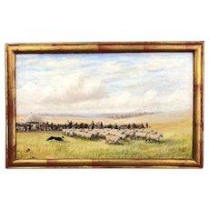 Framed Oil on Board Painting Westbury Hill Sheep Fair English Antique c1889