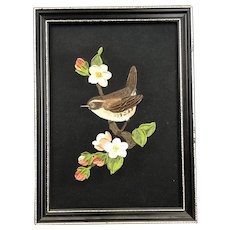 The Wren Miniature Oil on Silk by Noreen Taylor English Vintage c1970