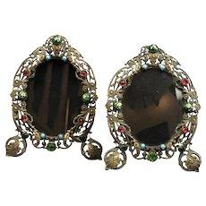 Miniature Pair Of Oval Filigree & Jewel Photo Frames Antique Victorian c1890