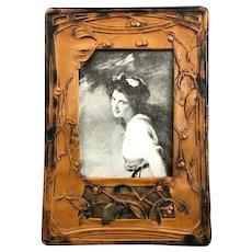 Art Nouveau Celluloid Mistletoe Easel Photo Picture Frame Antique Victorian c1900