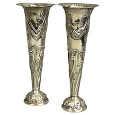 Pair Of Sterling Silver Bud Posy Vases Goldsmith & Silversmith Co London Victorian Antique 1896