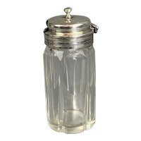 Glass Bottle Toothpick Holder With Sterling Silver Top Antique Art Nouveau London 1909