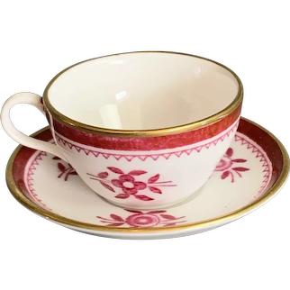 Miniature Cup And Saucer In White And Pink Made By Spode in England Vintage c1960