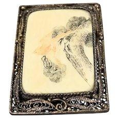 Filigreen Oriental Brooch Depicting A Bird On Brass Metal Souranding Antique Victorian c1890