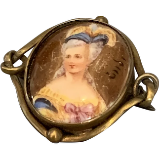Portrait Of Marie Antoniette On Porcelain in Brass Brooch Pin Antique Victorian c1880