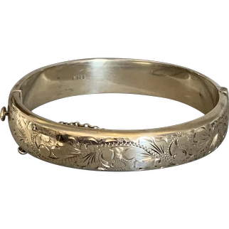 Sterling Silver Bangle Bracelet With Security Chain Vintage Mid Century Birmingham 1965