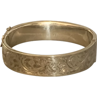 Sterling Silver Bangle Bracelet With Security Vintage Mid Century Chester 1952