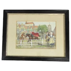Framed Watercolour Painting Runaway Horse GW Gibson Antique c1902