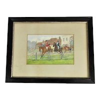 Framed Watercolour Painting by GW Gibson The Hunt Antique c1903