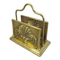 Art Nouveau Stamped Brass Letter Rack Antique c1900