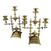 Pair of Aesthetic Movement Brass Adjustable Candle Sticks Antique Arts & Crafts Victorian c1880