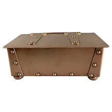 Copper Jewellery Box With Hinged Lid And Strap Work Arts And Craft Period Victorian Antique c1890