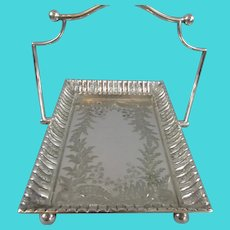 Heavy Silver Plated Swing Handle Cake Bread Basket Antique c1880