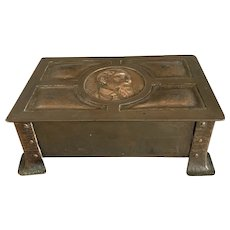 Copper Trinket Box Of Charles Dickens With Wood Inside Antique Victorian Arts And Craft c1890