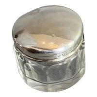 Sterling Silver Top And Cut Glass Pill Box Vintage Art Deco Birmingham 1926
