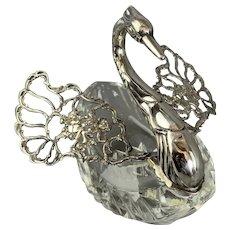 Large Sterling Silver And Glass Cut Trinket Box Or Salt Or Sugar Holder Vintage Art Deco c19