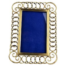 Large Ornate Brass Chain Easel Photo Frame Antique Victorian c1890
