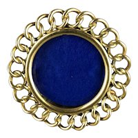 Miniature Round Solid Brass Ring Easel Photo Frame Antique Victorian c1890