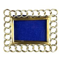 Miniature Rectangular Solid Brass Ring Easel Photo Frame Antique Victorian c1890